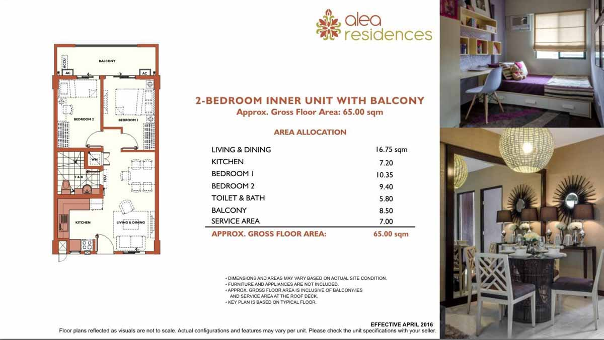 Alea Residences 2BR Inner with Balcony 65sqm