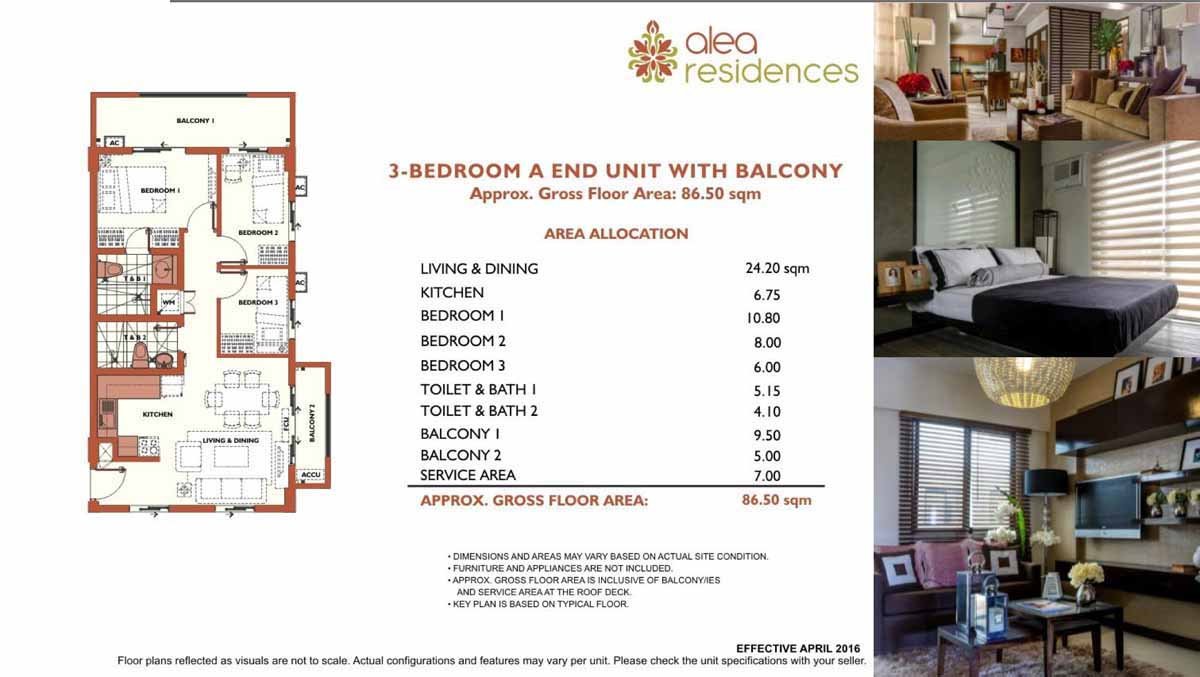 Alea Residences 3BR A End with Balcony 86.5sqm