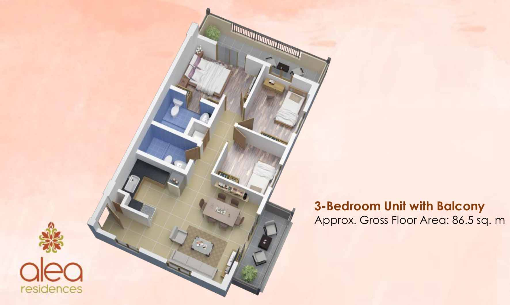 Alea Residences 3BR A End with Balcony 86.5 sqm 3D