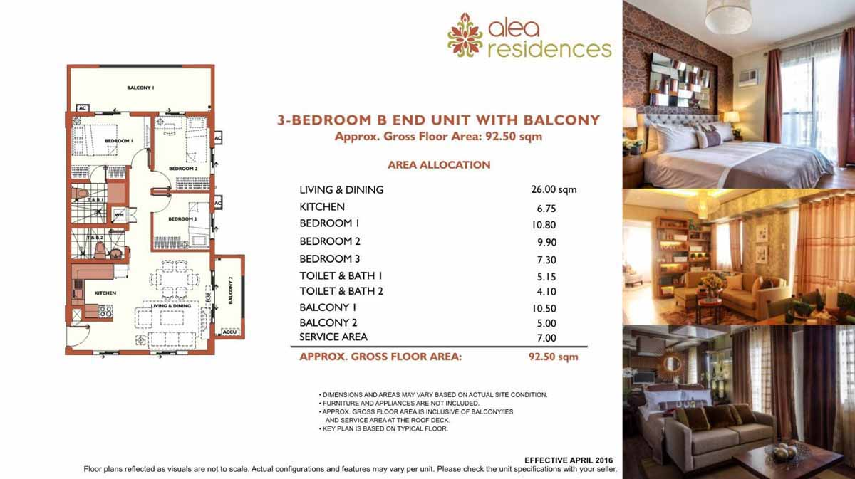 Alea Residences 3BR B End with Balcony 92 5sqm
