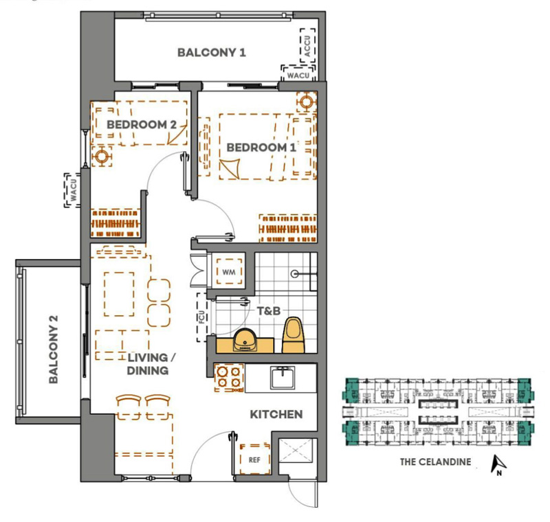 The Celandine 2BR B End 53sqm