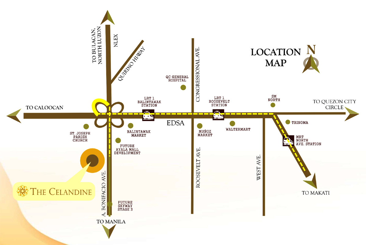 The Celandine Location Map