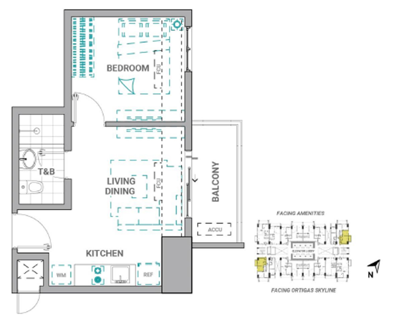 The Crestmont Floorplan 1BR B