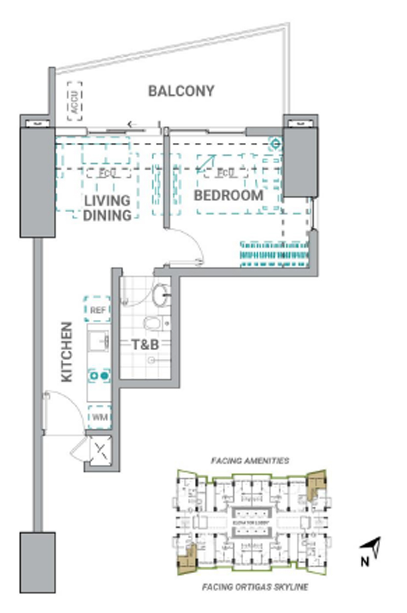 The Crestmont Floorplan 1BR C