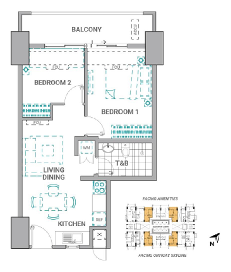 The Crestmont Floorplan 2BR A