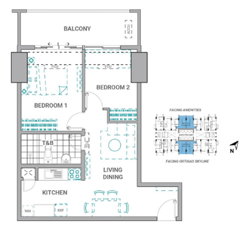 The Crestmont Floorplan 2BR B