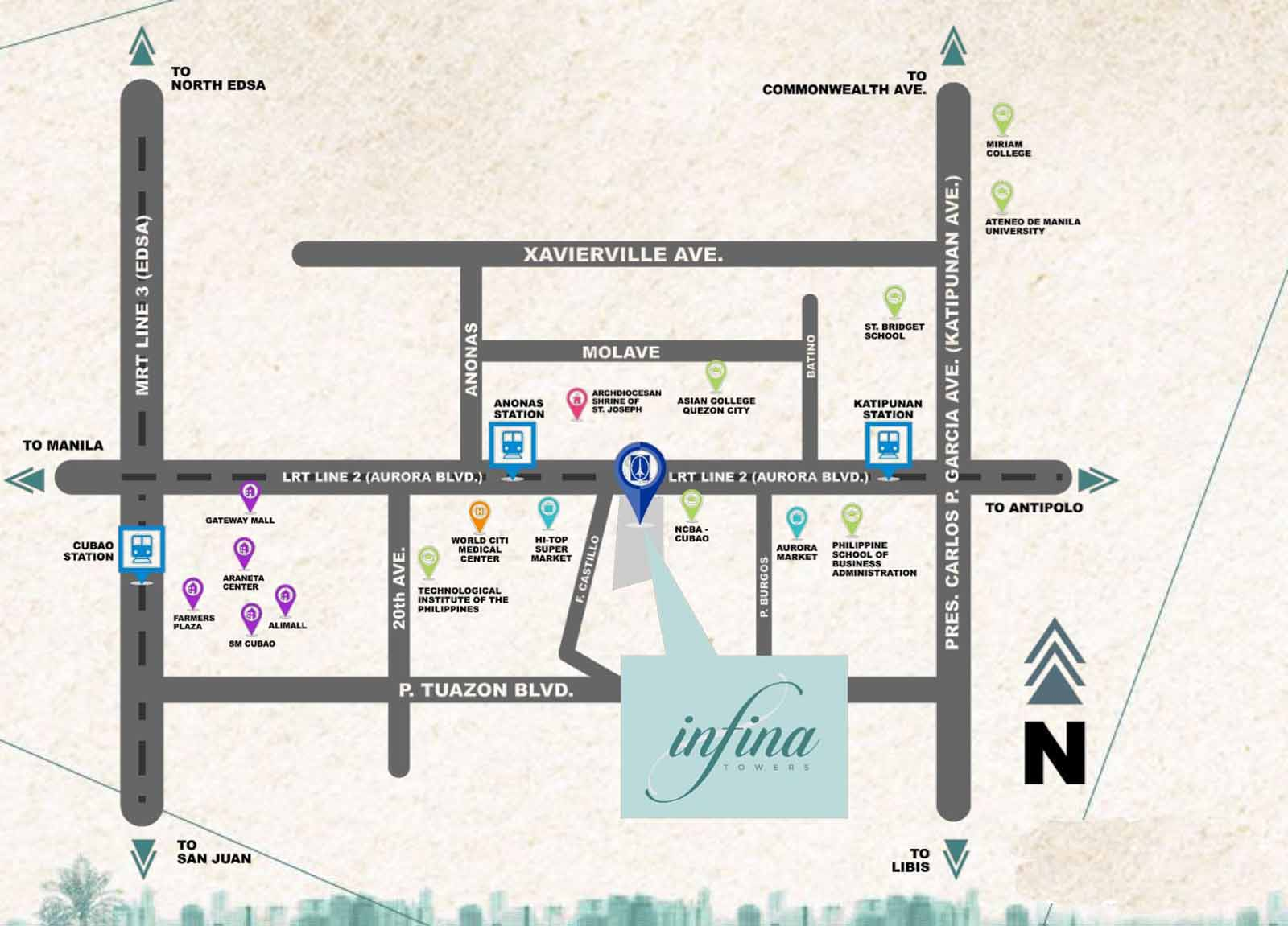 Infina Towers Location Map