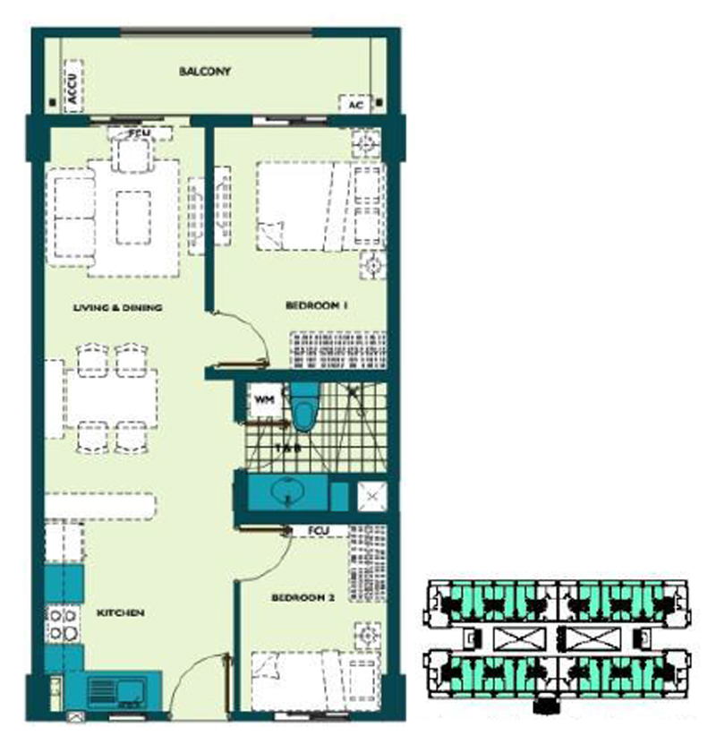 Mirea Residences 2BR Inner 65.00 sqm Korean