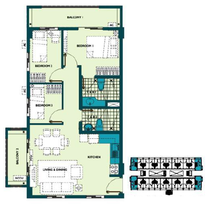 Mirea Residences 3BR End 85.00 sqm