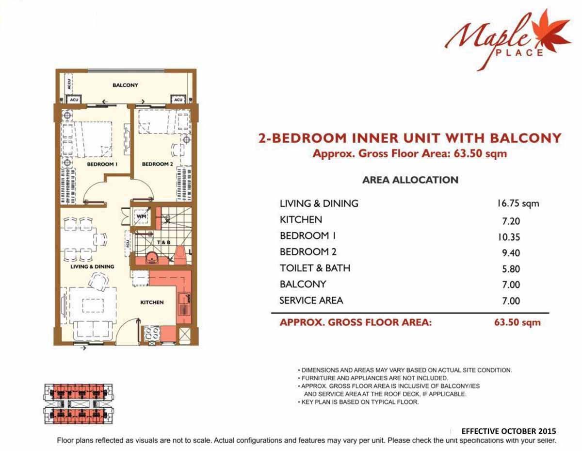 Maple Place 2BR Inner with Balcony 63.5 sqm