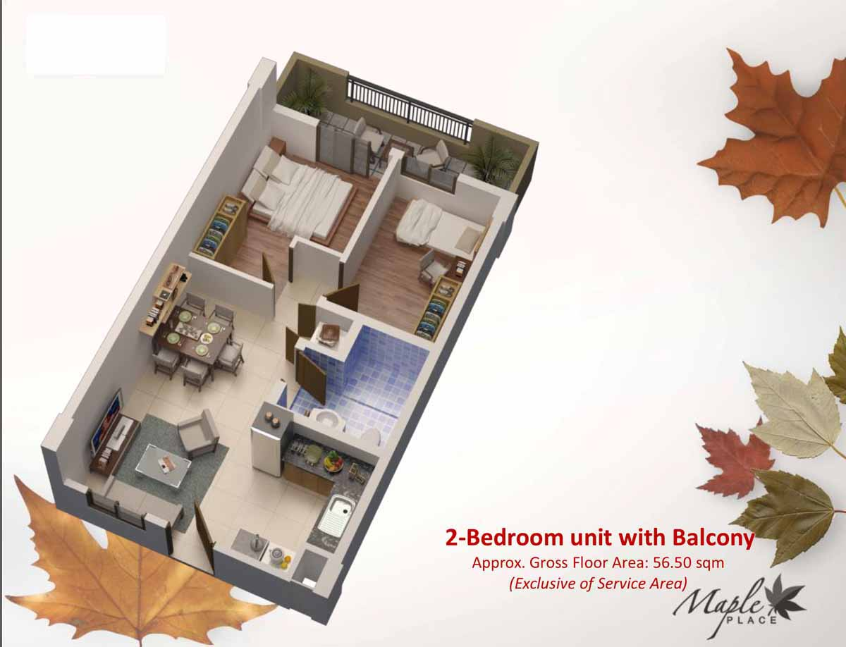 Maple Place 2BR with Balcony 56.5 sqm