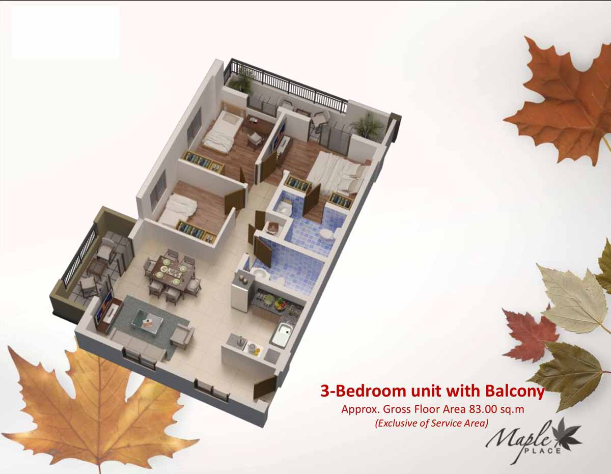 Maple Place 3BR with Balcony 83sqm