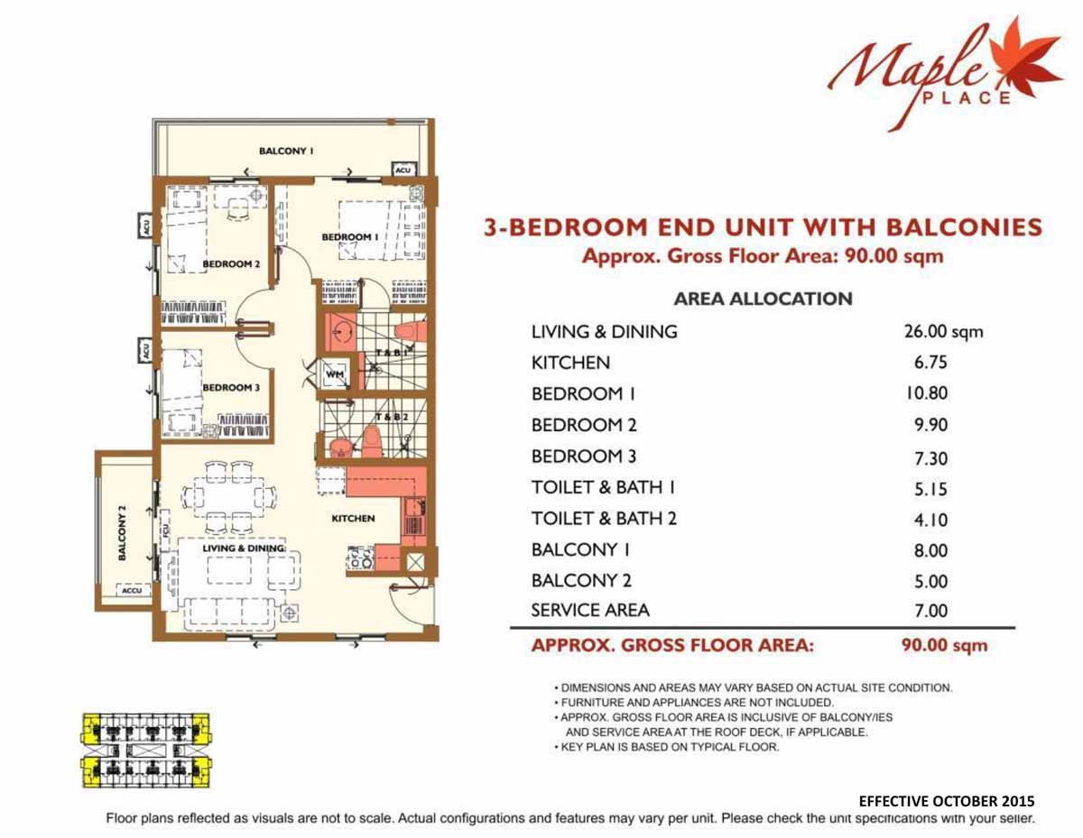 Maple Place 3BR with Balcony 90sqm