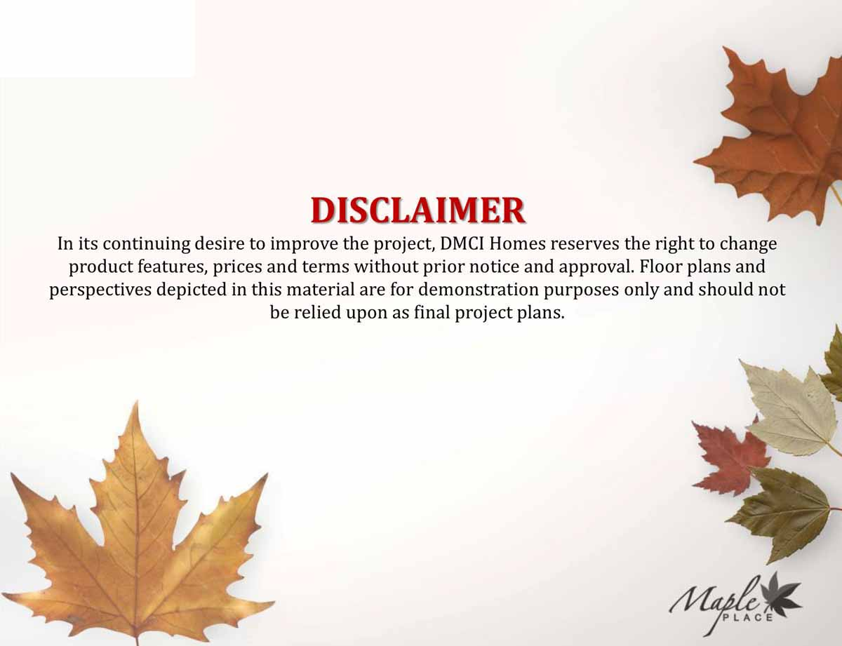 Maple Place Disclaimer