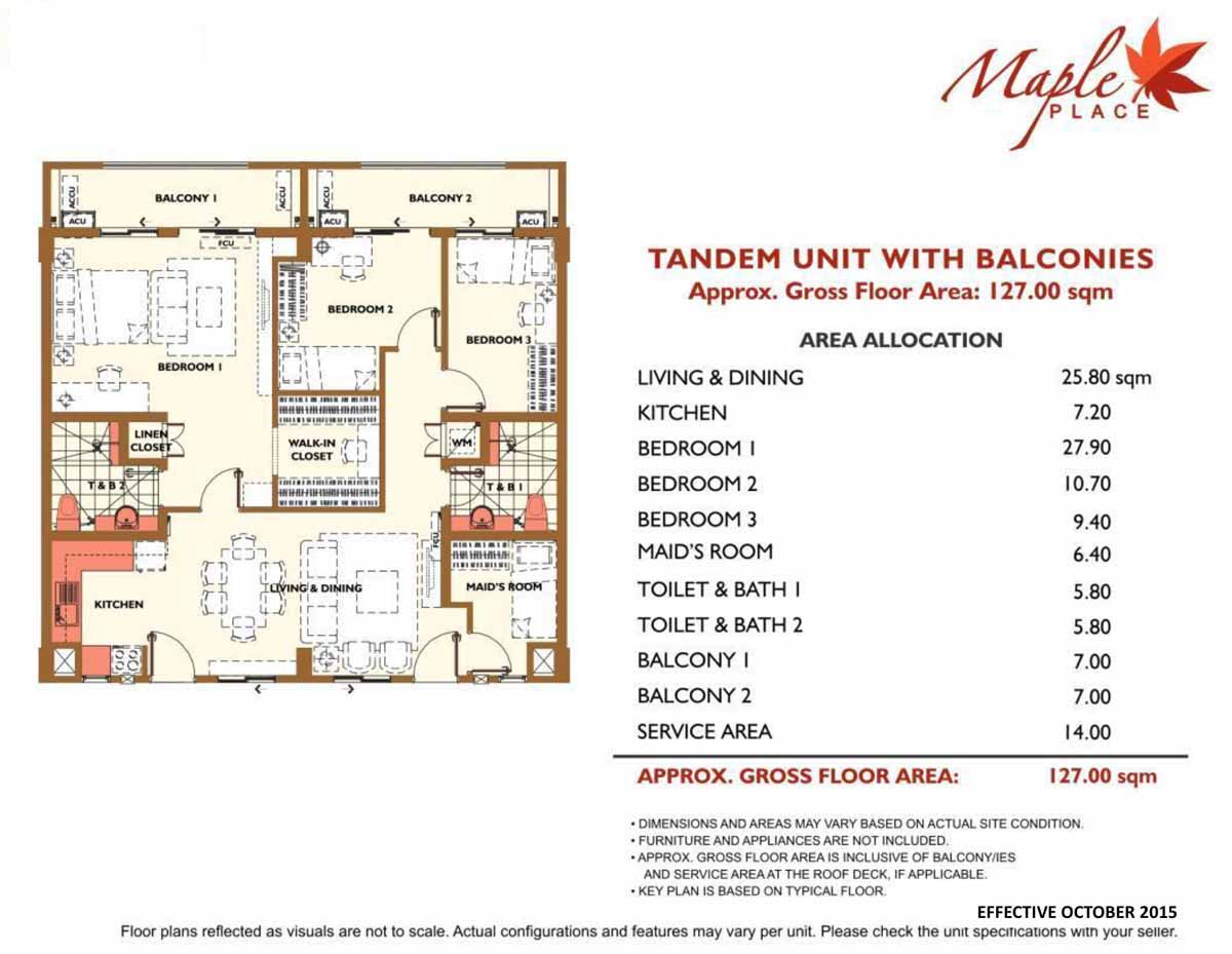 Maple Place Tandem 3BR 127sqm